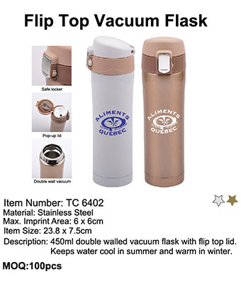 Flip Top Vacuum Flask - Tredan Connections