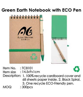 Green Earth Notebook with ECO Pen - Tredan Connections