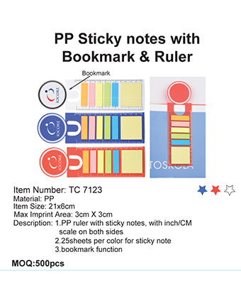 PP Sticky Notes with Bookmark & Ruler - Tredan Connections
