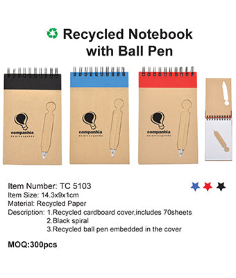 Recycled Notebook with Ball Pen - Tredan Connections