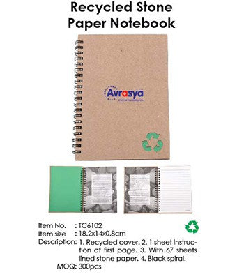 Recycled Stone Paper Notebook - Tredan Connections