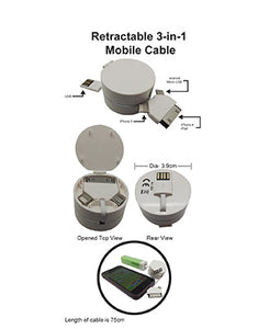 Retractable 3-in-1 Mobile Cable - Tredan Connections