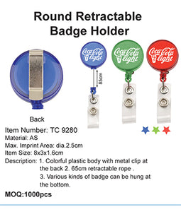 Round Retractable Badge Holder - Tredan Connections