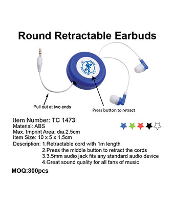 Round Retractable Earbuds - Tredan Connections