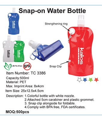 Snap-on Water Bottle - Tredan Connections