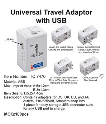 Universal Travel Adaptor with USB - Tredan Connections