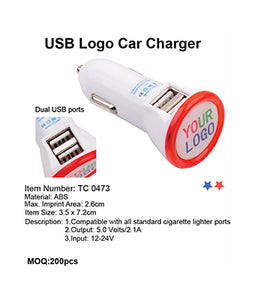 USB Logo Car Charger - Tredan Connections