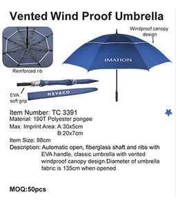 Vented Wind Proof Umbrella - Tredan Connections