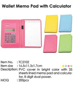 Wallet Memo Pad with Calculator - Tredan Connections