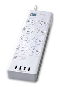 Sansai 8 Way Surge Powerboard with 4x USB Ports