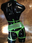 NEON GREEN SHIMMER FISHNET 3PC GARTER SET