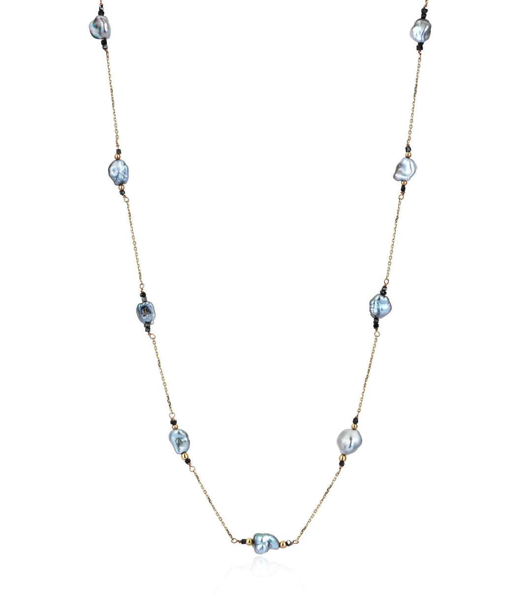 14K Diamond Keshi Pearl Necklace