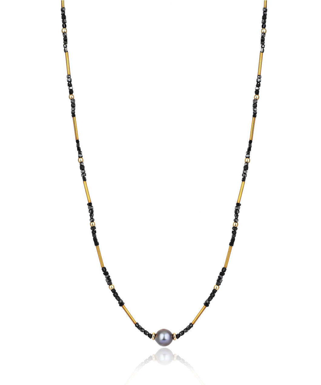 14K Gold Black Diamond Tahitian Pearl Necklace