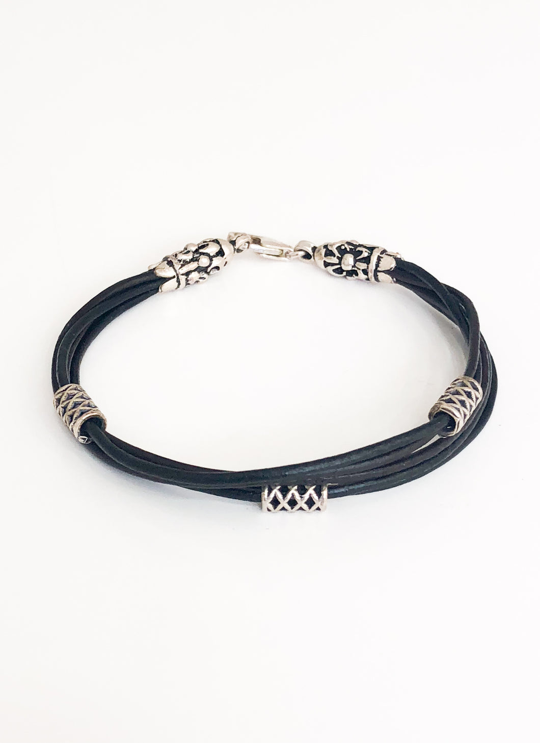 Leather Silver Bracelet - Sufi Design