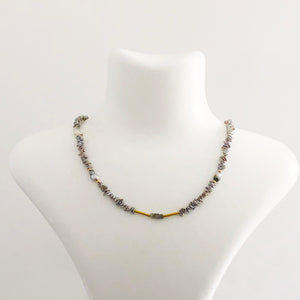 14K Gold Diamond Keshi Pearl Necklace - Sufi Design
