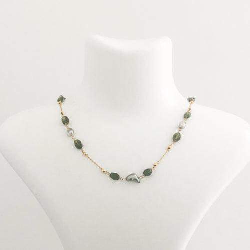 14K Gold Tourmaline Keshi Pearl Necklace - Sufi Design