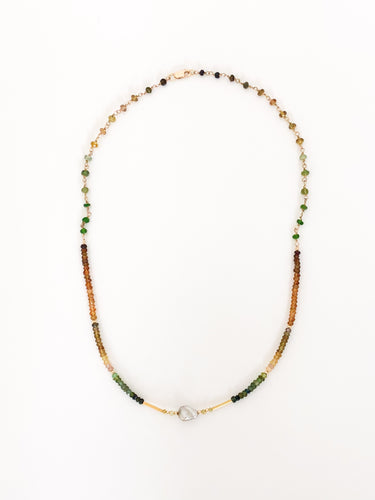 14K Gold Keshi Pearl Tourmaline Necklace - Sufi Design