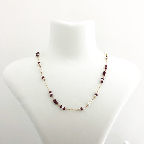 14K Gold Chain Ruby Pearl Necklace