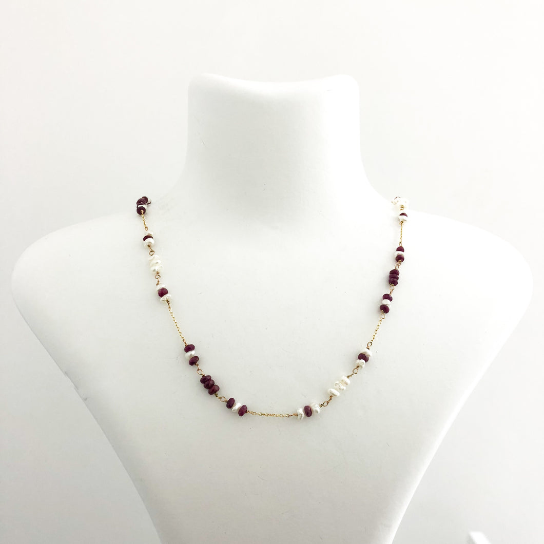 14K Gold Chain Ruby Pearl Necklace - Sufi Design