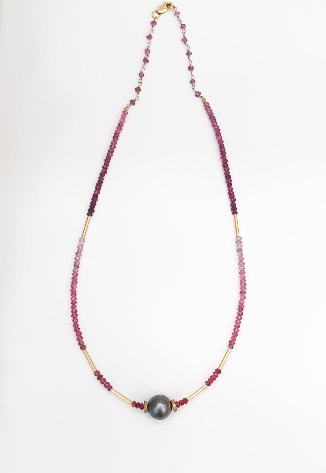14K Gold Ruby Tahitian Pearl Necklace - Sufi Design