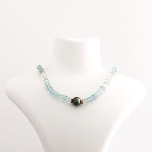14K Gold Tahitian Pearl Aqumarine Necklace - Sufi Design