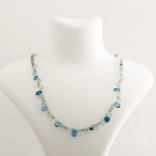 14K Gold Aquamarine Necklace