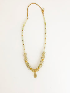 Prehnite & Lemon Quartz Necklace - Sufi Design