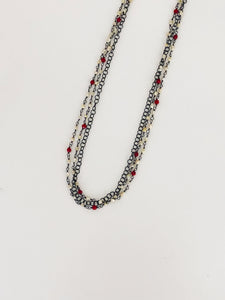 Triple Coral & Pearl Necklace - Sufi Design