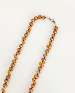 Fire Opal and Brown Pearl Necklace - Sufi Design