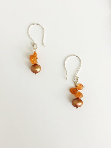 Fire Opal and Brown Pearl Earrings - Sufi Design