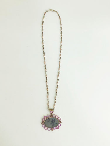Diamond Necklace with Porcelain Pendant - Sufi Design