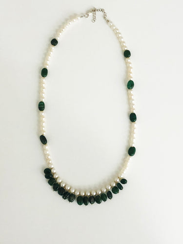 Jade & Pearl Necklace - Sufi Design