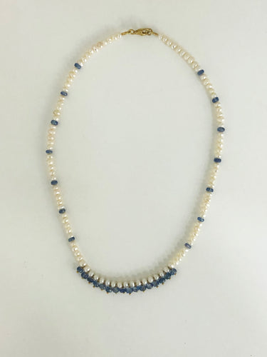 Kyanite & Pearl Necklace - Sufi Design