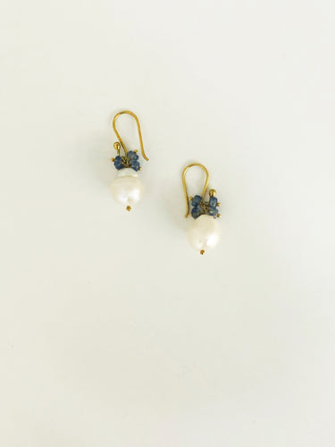 Kyanite & Baroque Pearl Earrings - Sufi Design