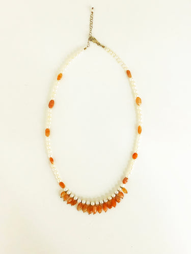 Sunstone & Pearl Necklace - Sufi Design