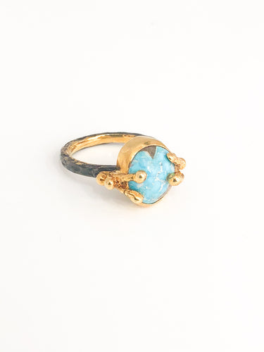 Turquoise Silver Ring - Sufi Design