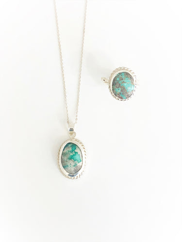 Turquoise Silver Ring & Necklace - Sufi Design