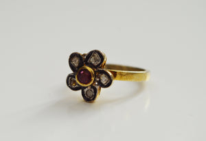 Flower Ruby and Diamond Ring