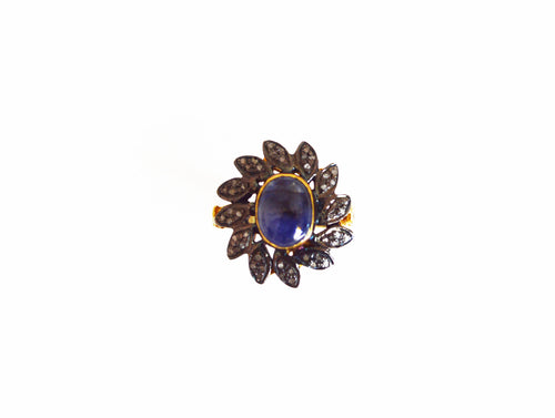 Pave Diamond and Sapphire Flower Silver Ring