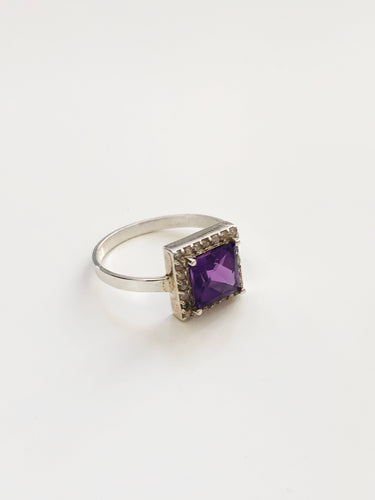 Diamond and Silver Amethyst Ring