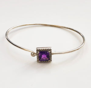 Diamond and Silver Amethyst Bracelet