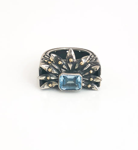 18K Gold Blue Topaz Silver Ring - Sufi Design