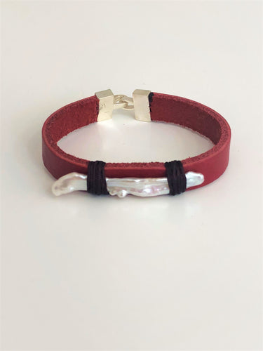 Leather Pearl Wristband - Sufi Design
