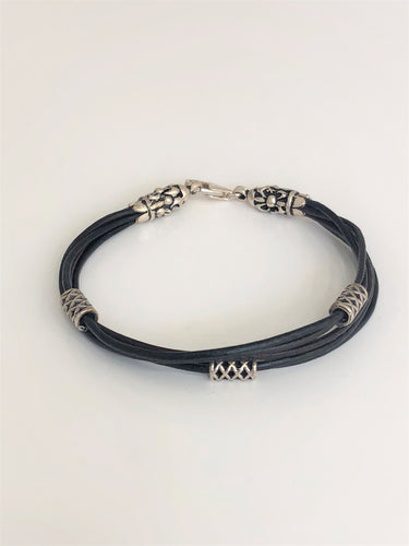 Leather Silver Wristband - Sufi Design