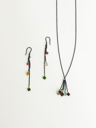 Tourmaline Necklace and Earrings Set - Sufi Design