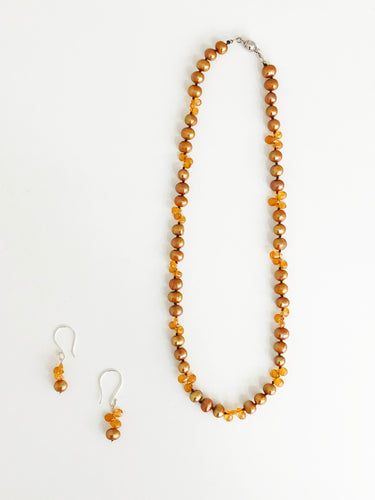 Fire Opal and Brown Pearl Necklace and Earrings Set - Sufi Design