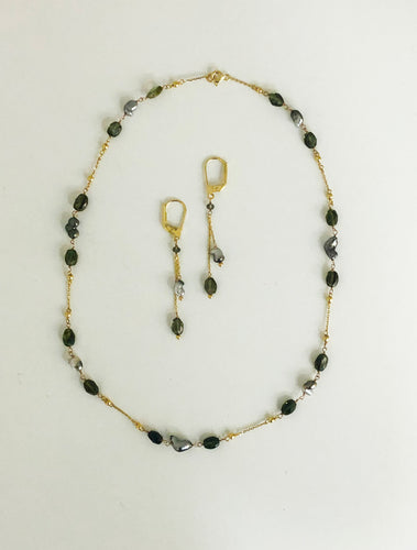 Tourmaline & Gold Necklace and Earrings Set - Sufi Design