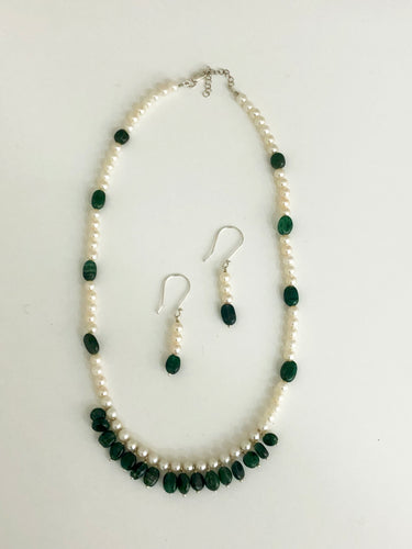 Jade & Pearl Necklace & Earrings Set - Sufi Design