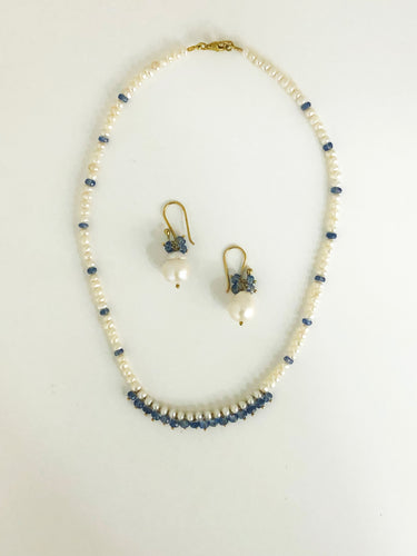 Kyanite Pearl Necklace & Earrings Set - Sufi Design