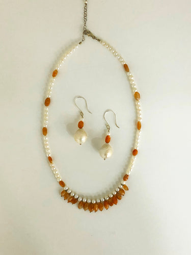 Sunstone & Pearl Necklace and Earrings Set - Sufi Design